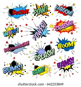 Funny cartoon superhero elements:  crash,  boom,  pow, bang, wow, bams, power, caboom, bums, splash.
