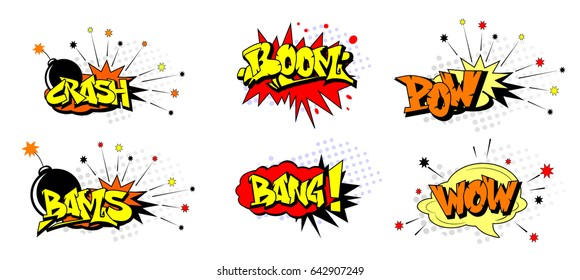Funny cartoon superhero elements:  crash,  boom,  pow, bang, wow, bams.
