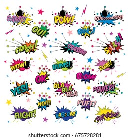 Funny cartoon superhero elements:  crash,  boom,  pow, bang, wow, bams, splash, power, bums, flight, bomb, yes, ok.