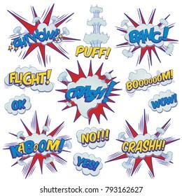 Funny cartoon superhero elements:  crash,  boom,  pow, bang, wow, flight, kaboom, yes, no.