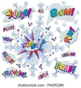 Funny cartoon superhero elements:  crash,  boom,  pow, bomb, wow, flight, kaboom, oh, bang, puff.
