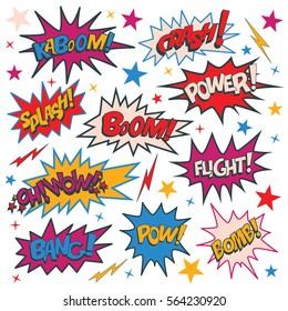 Funny cartoon superhero elements: kaboom, crash, power, splash, boom, wow, flight, bomb, pow, bang.