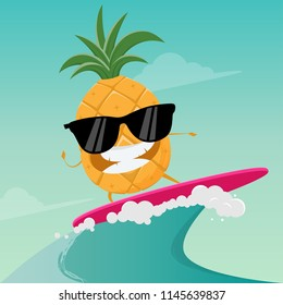 funny cartoon of surfing pineapple
