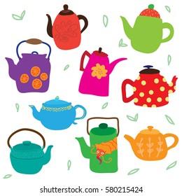 Funny cartoon teapots set.