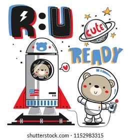 """Funny cartoon teddy bear and his brother launching rocket with text """"R U READY"""" on white background illustration vector."""