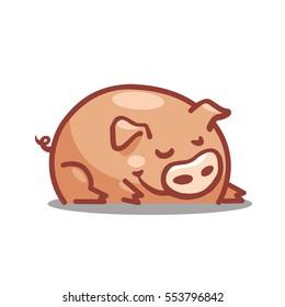 Funny cartoon tlyled pig