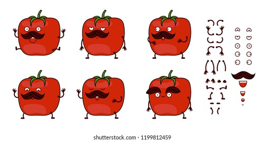 Funny cartoon tomato character creation set vector illustration. Constructor with various gesture, emotion.