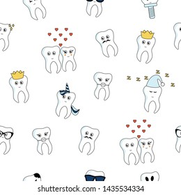 Funny cartoon tooth stickers seamless pattern. Isolated on white.