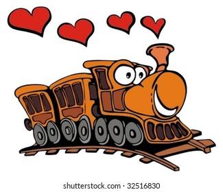 Funny cartoon train with love hearts.