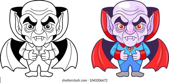 funny cartoon vampire, vector illustration