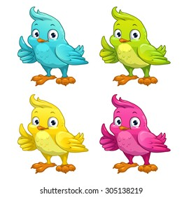 Funny cartoon vector bird, different color variants, isolated on white