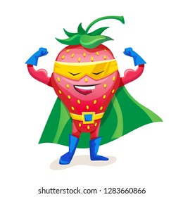 Funny cartoon vector character fruit in superhero costume. Concept of healthy diet, natural vegetarian organic products. Cute fruit strawberry in cloak of super hero and mask, showing strength.