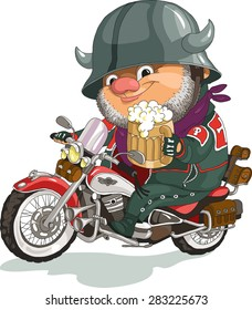 Funny cartoon. Vector illustration. Cool biker sitting on the motorcycle with a beer. Isolated objects.