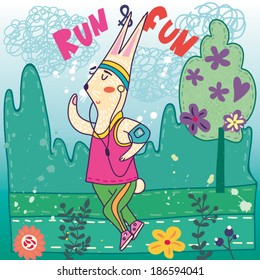 "Funny cartoon vector illustration with cute bunny ""Run&Fun""."