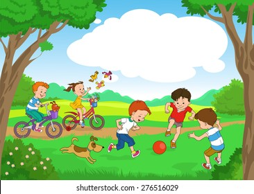 Funny cartoon. Vector illustration. Funny kids ride bikes along the forest summer day. joyful kids play ball on the lawn.