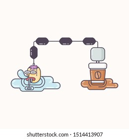 Funny cartoon vector. sleeping head drooling and charging its brain with cup of coffee.