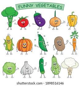 Funny cartoon vegetables collection. Vector illustration. Broccoli, Tomato, Eggplant, Onion, Paprika, Corn, Pumpkin, Green Peas, Potato, Carrot, Salad Cabbage, Garlic, Cucumber, Zuccini, Cauliflower