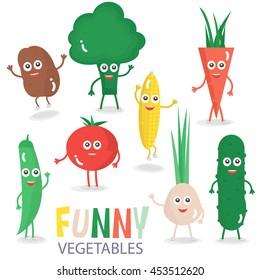 Funny cartoon vegetables set. Vector illustration