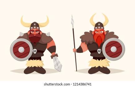 Funny Cartoon Vikings. Vector Illustration