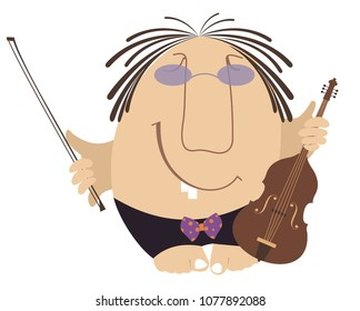 Funny cartoon violinist illustration isolated. Smiling man with violin and fiddlestick illustration vector