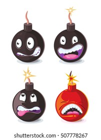 Funny cartoon wicked bombs emoji vector illustration. Animation character bomb