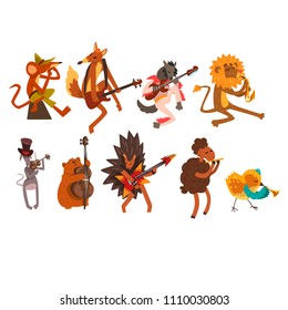 Funny cartoon wild animal characters playing various musical instruments vector Illustrations on a white background