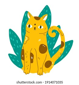 Funny cartoon wild cat sit in jungle leaves. Modern flat style pet vector illustration