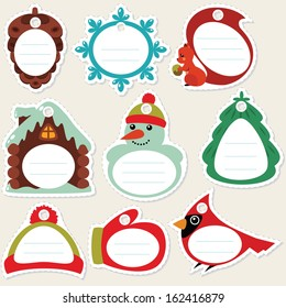 Funny cartoon winter gift tags. Some blank space for your text included.