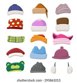 Funny Cartoon Winter Hat set - vector illustration