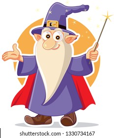Funny Cartoon Wizard Magician Character. Old male sorcerer holding wand casting a spell