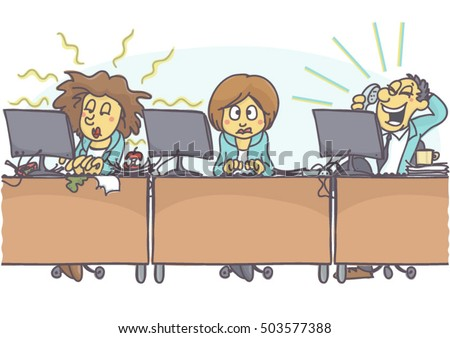 Funny Cartoon Woman Bad Coworkers Office Stock Vector Royalty Free