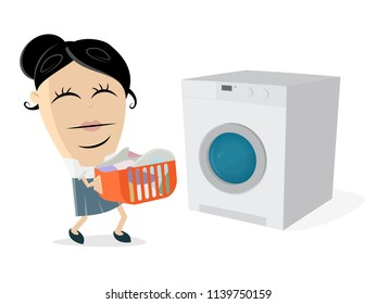 funny cartoon woman with dirty laundry and washing machine