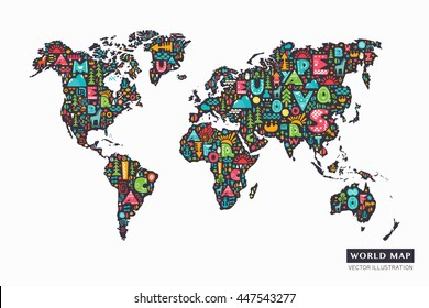 World map made flags stock vector 91020641 shutterstock funny cartoon world map with alphabet letters and design abstract elements vector illustration gumiabroncs Gallery