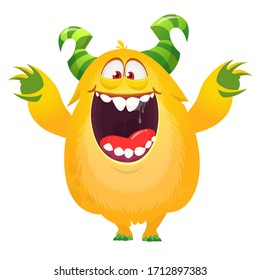 Funny cartoon yellow excited monster waving hands. Vector Halloween illustration
