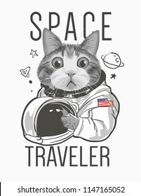 funny cat astronaut illustration