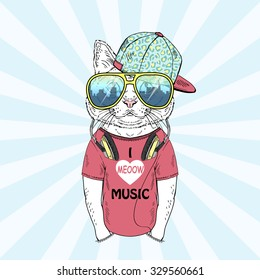 funny cat boy dressed up in t-shirt with headphones , hand drawn graphic, music poster, animal illustration