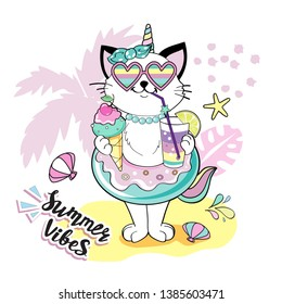 Funny cat with a circle of flamingos and the inscription Summer vibes