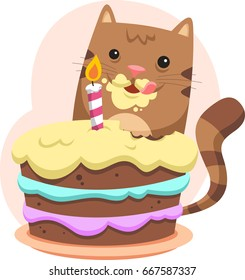 funny cat eating cake illustration