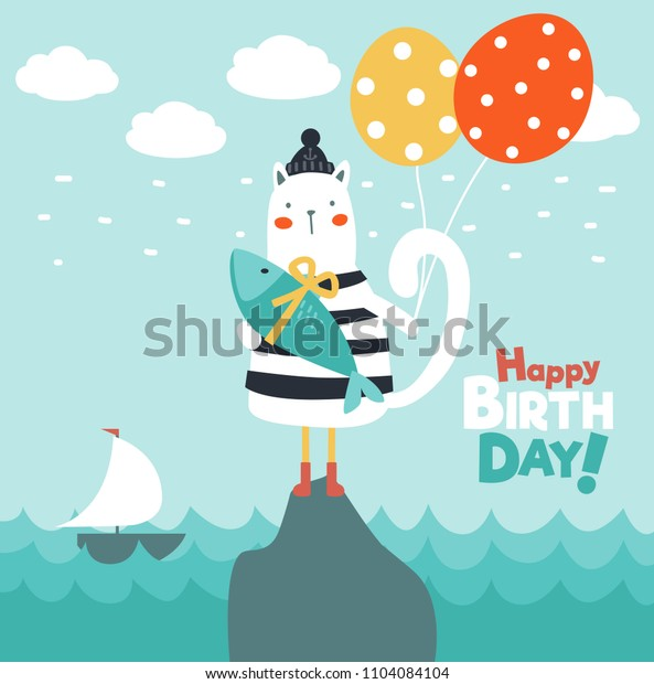 Funny cat with fish and balloons