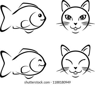 Funny cat and fish. Cartoon drawing. Vector
