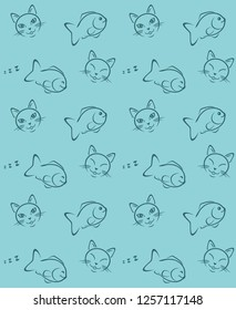 Funny cat and fish. Seamless pattern for wrapping. Vector