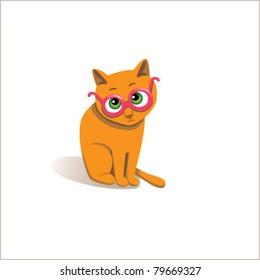 Funny cat in glasses. Vector illustration