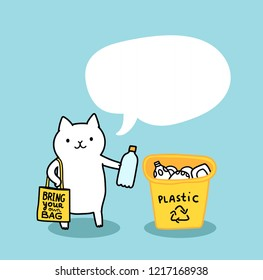 Funny cat holding plastic bottle. Zero Waste concept. Recycling illustration. Yellow trash bin. Cute pet animal with reusable grocery tote bag.