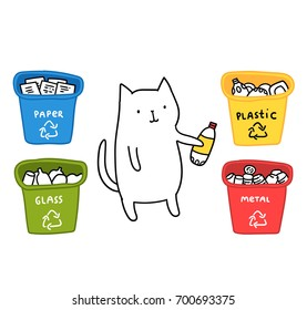Funny cat holding plastic bottle. Zero Waste concept. Recycling illustration. Trash bins.
