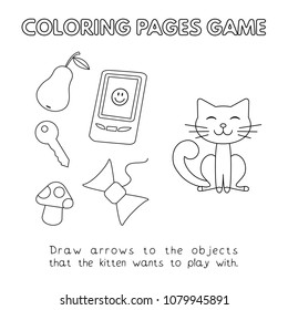 Funny cat kids learning game. Vector coloring book pages for children