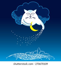 Funny cat with moon and stars. Series of comic cats