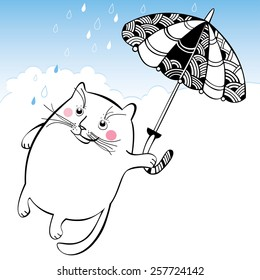 Funny cat on the umbrella. Series of comic cats.
