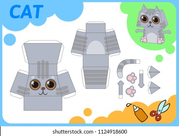 Funny Cat paper model. Small home craft project, paper game. Cut out, fold and glue. Cutouts for children. Vector template.
