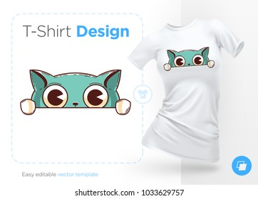 Funny cat. Print on T-shirts, sweatshirts, cases for mobile phones, souvenirs. Vector illustration