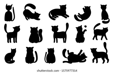 Funny cat silhouettes. Black cats play and hunt, lie and jump. Vector funny meowing kittens silhouette set isolated on white background